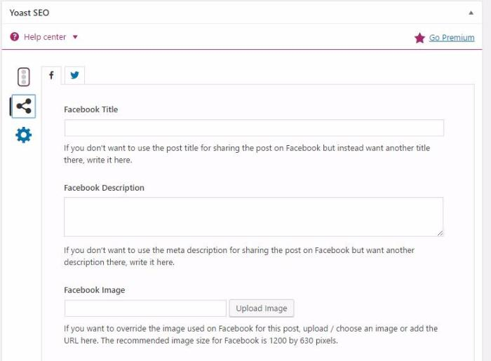 Yoast social media optimization screen