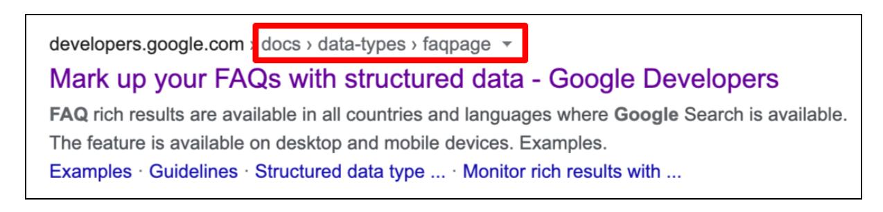 Structured data - breadcrumb